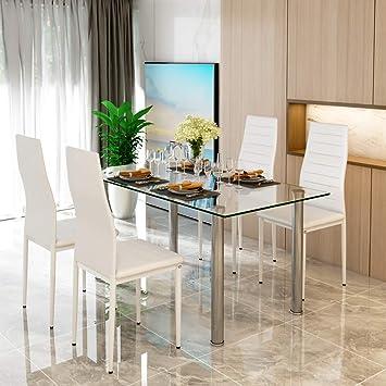 Juego de mesa de comedor de cristal y 4 sillas de comedor de espuma gruesa de imitación de cuero en blanco con patas cromadas, juego de muebles ...