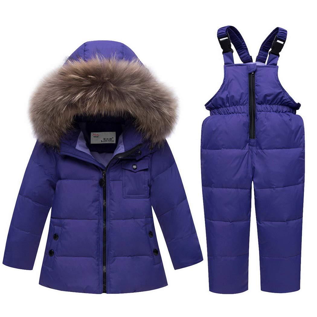 6001 Premewish Unisex Baby Schneeanzug Set,2 tlg Daunenjacke und Schneelatzhose,Kapuze mit Abnehmbaren Pl/üschbesatz