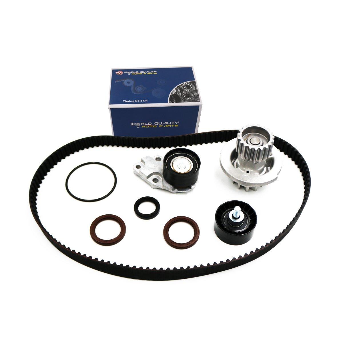 Timing Belt Kit Water Pump w/Gaskets Tensioner for 2004 2005 2006 2007 2008 Chevrolet Aveo 1.6L DOHC L4 16V WQ TS26335 CTBK-C013WP-1
