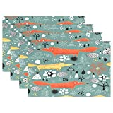 Merry Christmas Tree Fox Snow Forest Woods Nut Place Mat Table Mat for Kitchen Dining Room Heat Insulation Anti-skid Home Decor by MOCK ST Place Mat 12 x 18 inches Set of 4