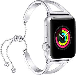 fastgo Bracelet Compatible for Apple Watch Band 38mm 42mm Women, Jewelry Bling Bands Cuff 40mm 44mm Stainless Steel Womens for Iwatch SE & Series 6 5 4 3 2 1