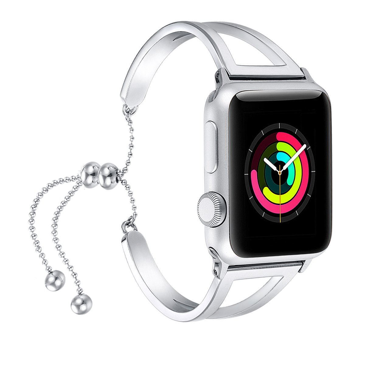 fastgo Bracelet Compatible for Apple Watch Band 38mm 42mm, 2018 Dressy Fancy Jewelry Bangle Cuff for Iwatch Bands Series 4 3 2 1 Women Girls Adjustable Stainless Steel Pendant (Silver - 38mm 40mm) by fastgo