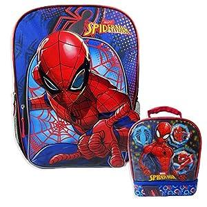 Marvel Spiderman Backpack Combo Set - Marvels Spiderman 2 Piece Backpack School Set (Blue/Blue)