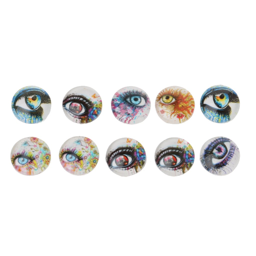 Autone 10PCS 12  mm vetro cabochon mix immagini Glow in Dark Evil animale occhi gioielli fai da te bambola accessori, Animal eyes