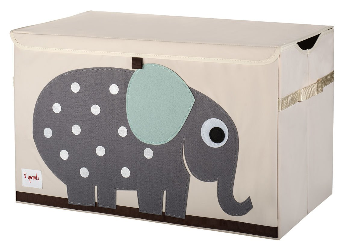 3 Sprouts Toy Chest, Elephant, Grey