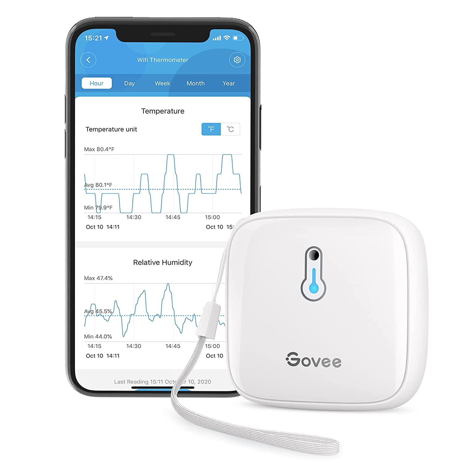 Govee Bluetooth Hygrometer Thermometer, Temperature Gauge Humidity Meter, App Alerts, Free Data Export Storage, Up to 500 Days Battery Life, 230ft Connecting Range for Humidor, Wine Cellar, Greenhouse