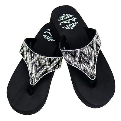 Blackhorseshoebling Montana West Women/'s Hand Beaded Flip Flop Sandals