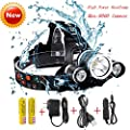 Best Waterproof Hard Hat Light,Super Bright 8000 Lumens Led Headlamp,Brightest Headlight,IMPROVED LED with Rechargeable 18650 Batteries/Wall Charger / Car Charger for Hunting Fishing Outdoor Sports