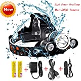 8000 lumen light - Best Waterproof Hard Hat Light,Super Bright 8000 Lumens Led Headlamp,Brightest Headlight,IMPROVED LED with Rechargeable 18650 Batteries/Wall Charger / Car Charger for Hunting Fishing Outdoor Sports