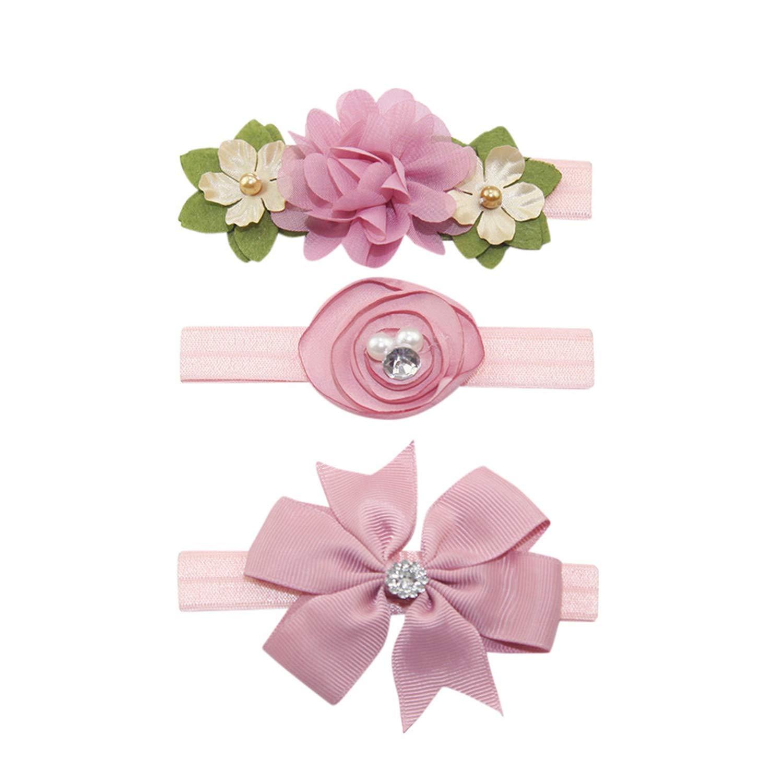 Floral Head-wear Headband Chiffon Cute Flowers Elastic Bow Clip Rubber Bands New