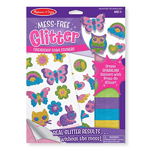 Melissa and Doug Mess-Free Glitter Activity Kit Friendship - 22 Stickers, 5 Glitter Sheets (Girl Stickers Glitter)
