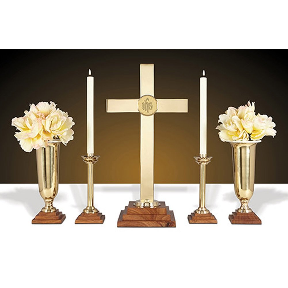 24'' Altar Set - Wood/Brass Includes YC511-24, YC506-10 and YC507-11 by Christian Brands