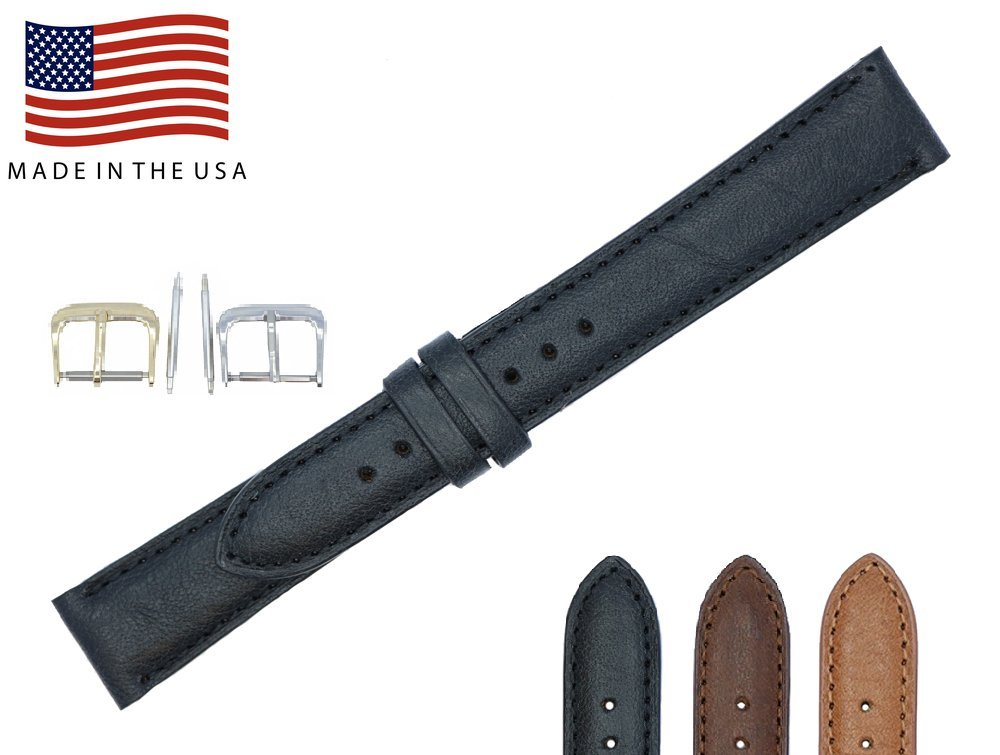 17mm Black Padded Sewn Montana Genuine Leather - Watch Strap Band - Gold & Silver Buckles – American Factory Direct - Made in USA by Real Leather Creations FBA17