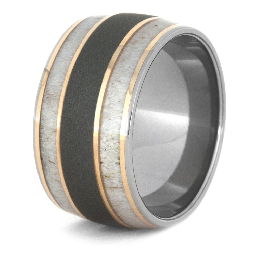 Deer Antler, 14k Rose Gold 9mm Comfort-Fit Sandblasted Titanium Wedding Band, Size 9.5 by The Men's Jewelry Store (Unisex Jewelry) (Image #4)