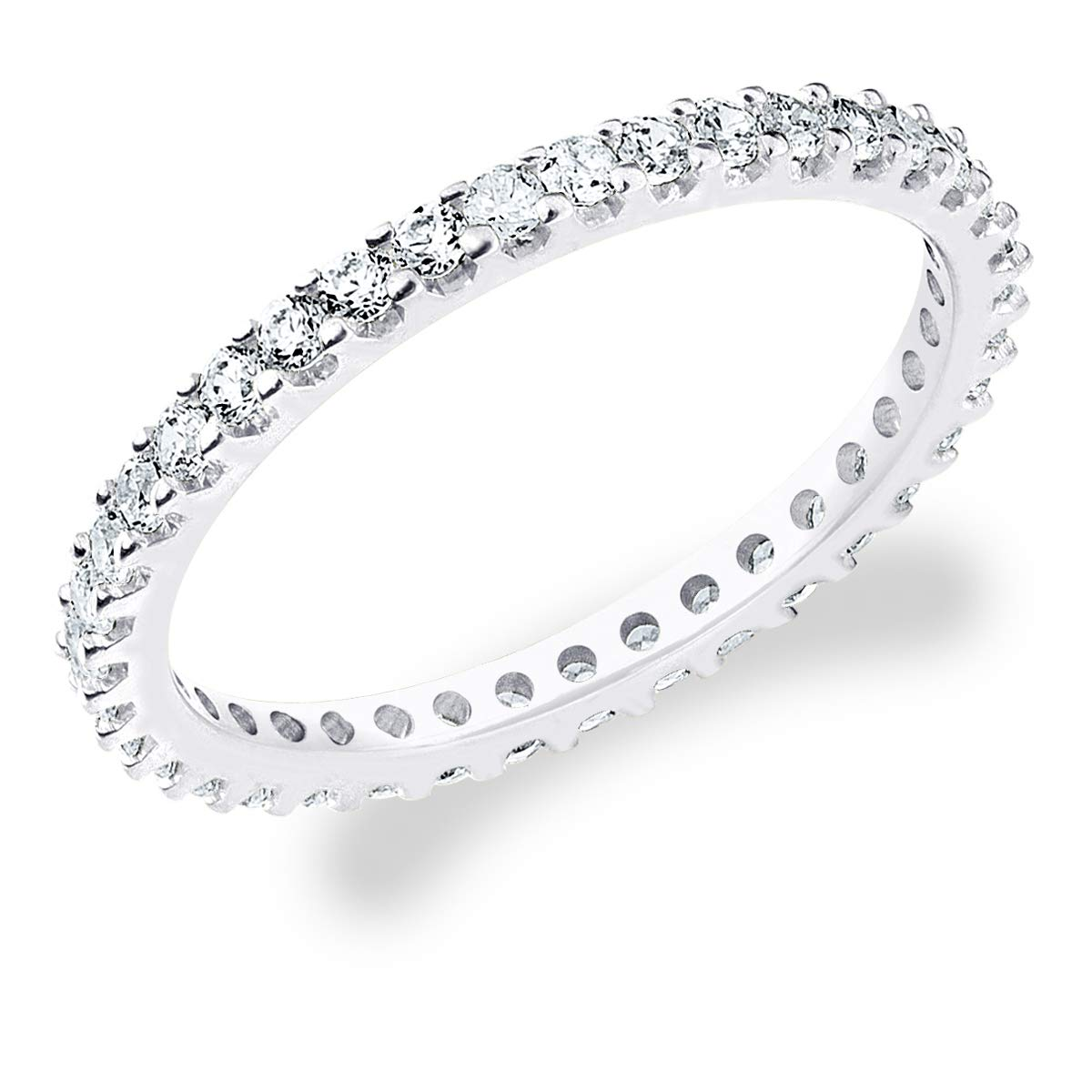 Eternity Wedding Bands 10K White Gold 1/2ct Eternity Stackable Diamond Anniversary Ring, Size 8.5