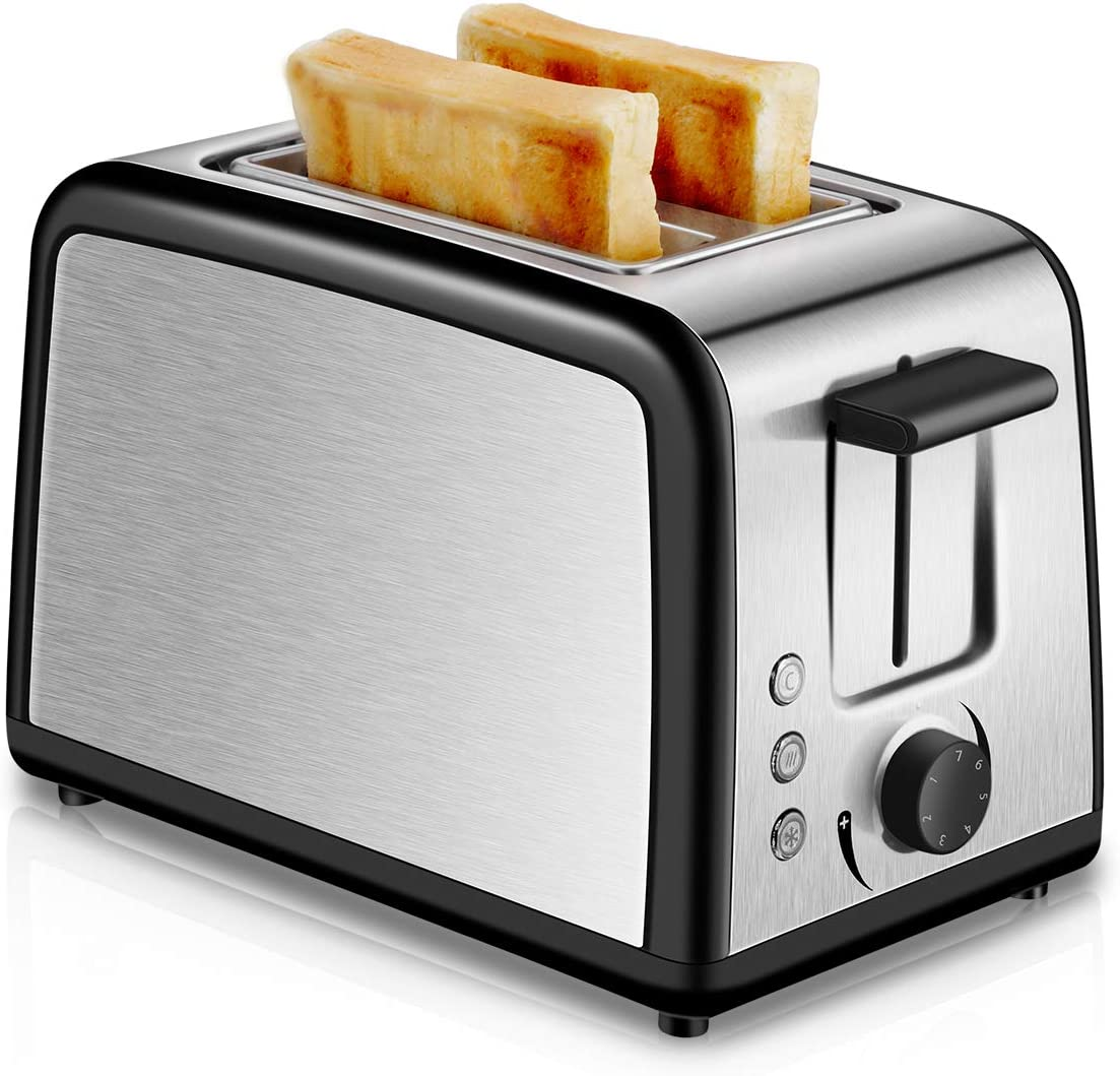 Toaster 2 Slice Compact Brushed Stainless Steel Toasters with Warmer Rack, Warm Touch 2-Slice Toaster with Warming Rack, Defrost Reheat Cancel Button, One Touch Quickly Toasts and Removable Crumb Tray Silver