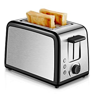 Toaster 2 Slice Compact Brushed Stainless Steel Toasters with Warmer Rack, Warm Touch 2-Slice Toaster with Warming Rack, Defrost Reheat Cancel Button, One Touch Quickly Toasts and Removable Crumb Tray