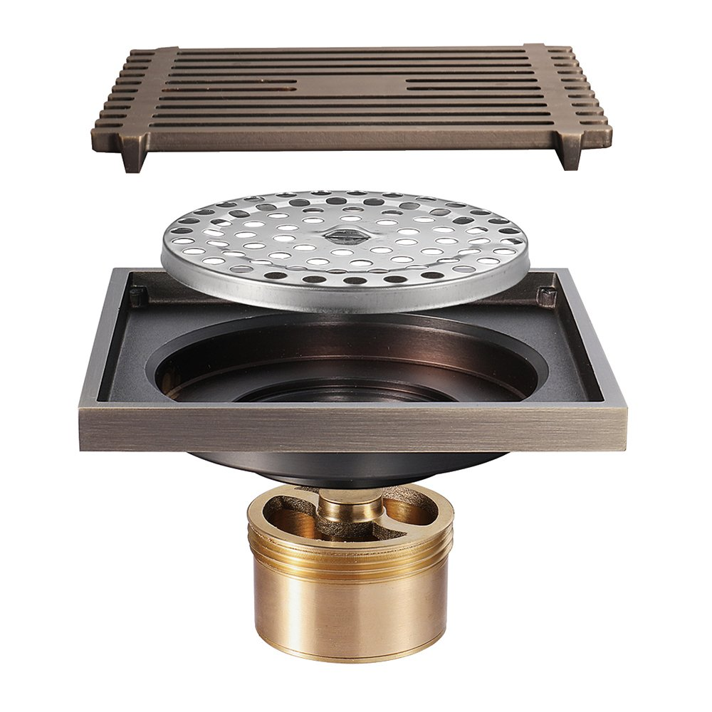 Shower Floor Drain Square Tile Insert 4-Inch Pure Cupper Brushed Grate Strainer With Removable Cover Anti-Clogging, High-Grade Bronze Floor Drain