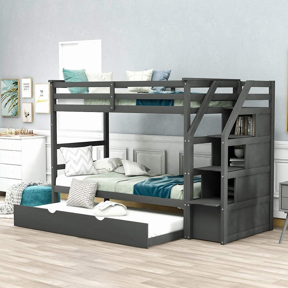Trundle Bunk Beds Rockjame Solid Wood Twin Over Twin Bunk Bed With Stairs Storage And Safety Guard Rail For Boys Girls Kids Teens And Adults Gray Kitchen Dining