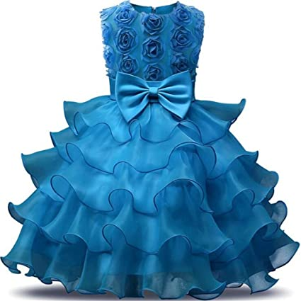 0a3be62e02982 Amazon.com: SPP PANDA Blue Flower Girl Dresses Wedding Dress Flower ...