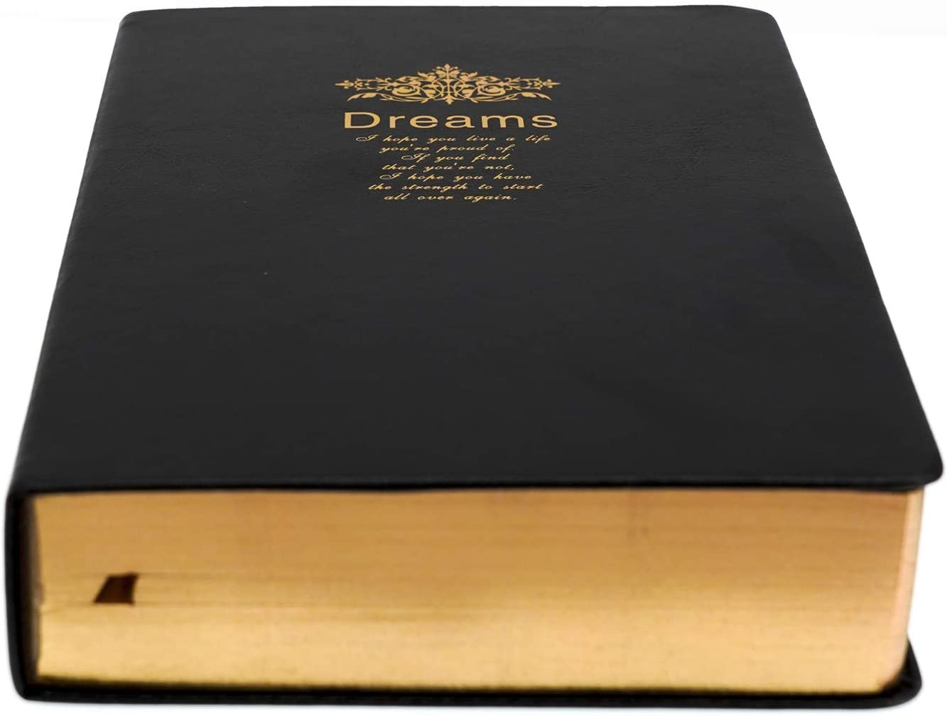 Thick Retro Notebook, Blank Premium Papers with Golden Rim, Travel Journal with Black Soft Faux Leather Hardcover Cover, 416 Pages 208 Sheets A5 Sketchbook for Writing Drawing