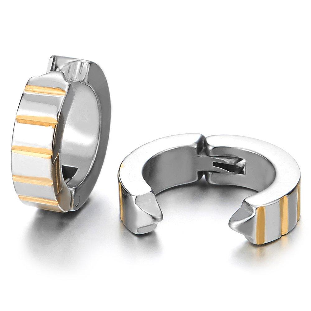 2pcs Grooved Silver Gold Huggie Hinged Hoop Earrings Non-Piercing Clip On Earrings for Men Women Boy COOLSTEELANDBEYOND ME-1258-EU