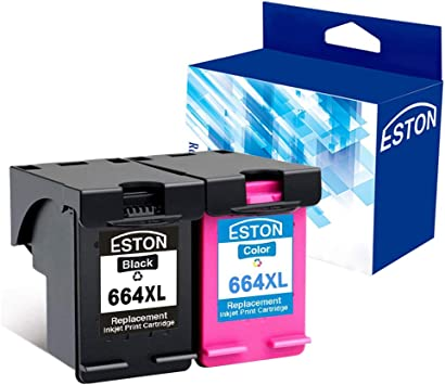 ESTON 2Pack Remanufactured for HP 664XL Black/Color Ink Cartridges for Deskjet Ink Advantage 1115 2136 3636 3836