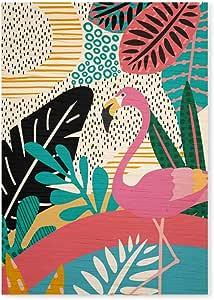 Arte Maníacos Quadro Decorativo em Madeira Tropicalia Flamingo - 23x16,25cm