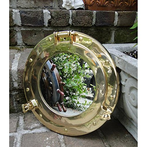 Extra Large Porthole Mirror Solid Brass Construction with a Gorgeous Satin Silver Chrome Finish- Nagina International by Nagina International