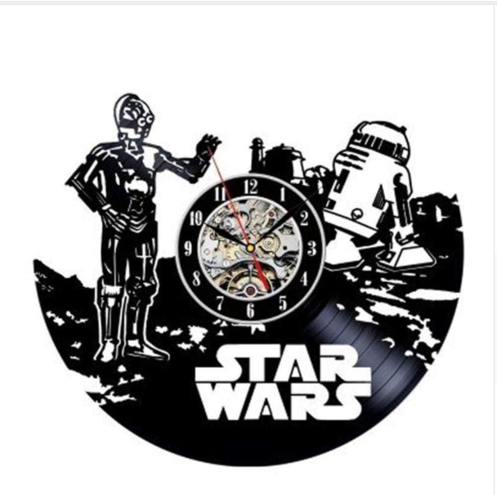 Reloj De Pared Diseño Moderno Modelo De Robot Reloj Mute Clásico Estilo Retro Disco De Vinilo CD Registros De Pared Decoración para El Hogar con Luz Led De 12 Pulgadas