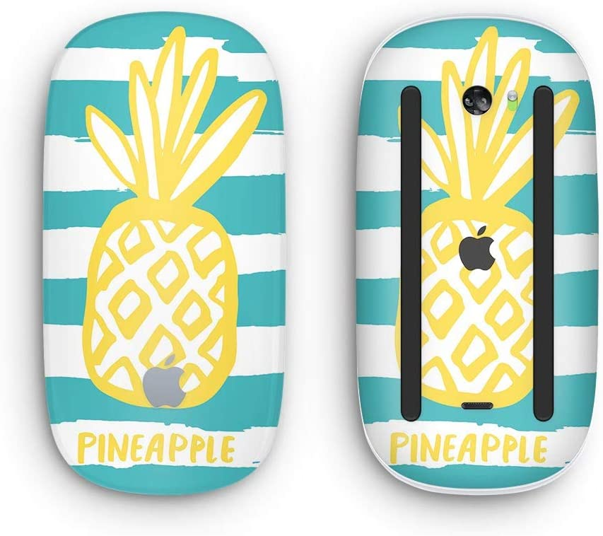 Wireless, Rechargable Design Skinz Premium Vinyl Decal for The Apple Magic Mouse 2 Striped Mint and Gold Pineapple with Multi-Touch Surface