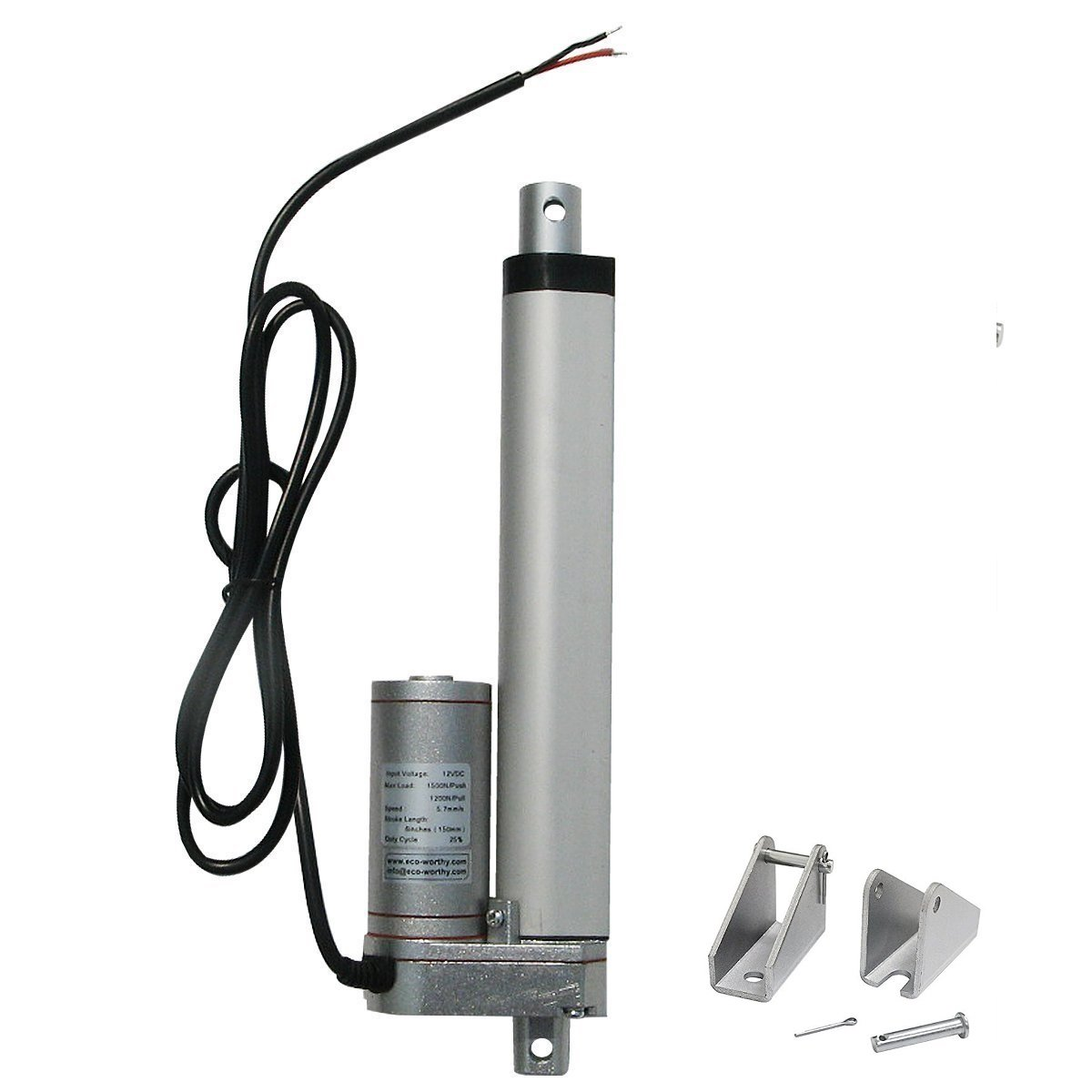 ECO-WORTHY 12V 6 Inch Stroke Linear Actuator 330lbs Maximum Lift with Mounting Brackets (12VDC 6'') by ECO-WORTHY