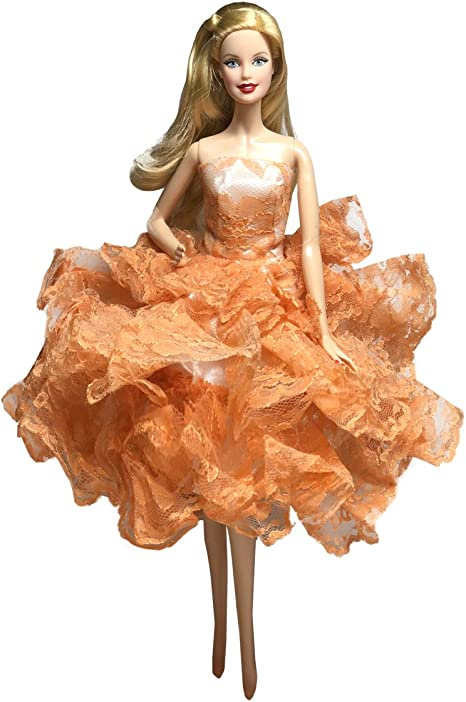 Handmade Ball Gown Strapless Layers of Organza Green Dress For 11.5 inches Doll