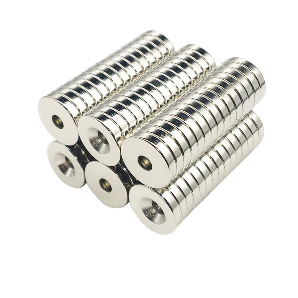 Round Multi-Use Magnets for Refrigerator Craft Project - Approximate 18 x 4 mm with 5mm Countersunk Hole - 10 Pieces