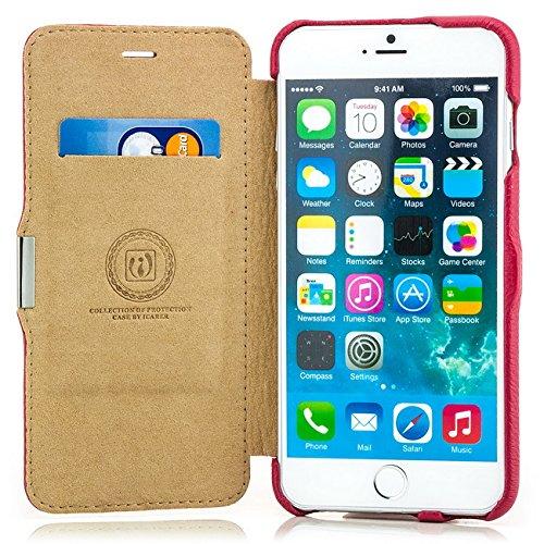 """Echtleder Flip Case Tasche für Apple iPhone 6 Plus / 6S Plus (5,5"""") Original iCareR seitlich aufklappbar mit Magnetverschluss Kartenfach, Standfunktion Pink"""