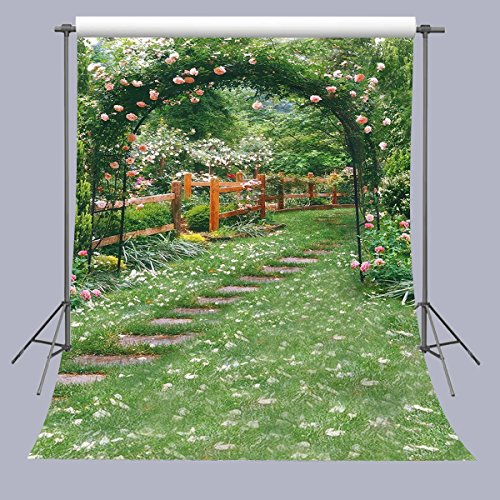FUERMOR 5x7ft Fresh Flower Green Yard Photography Backdrop For Wedding Events Party Photo Props (Garden Backdrop)