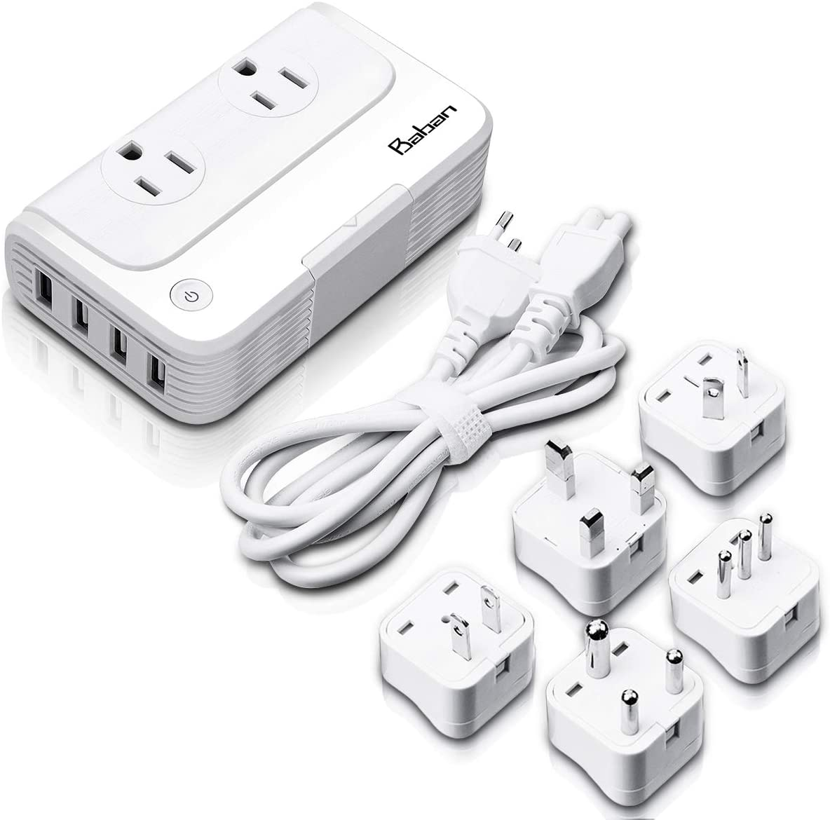 Baban Voltage Converter Travel Adapter, Step Down 220V to 110V Power Converter with 4-Port USB Charging, Worldwide Plug Adapter with UK/AU/US/EU/in/IT Plug for International Travel, White