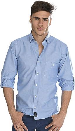 Camisa Oxford Manga Larga de Hombre en Azul - 5_XL, Azul Turquesa: Amazon.es: Ropa y accesorios