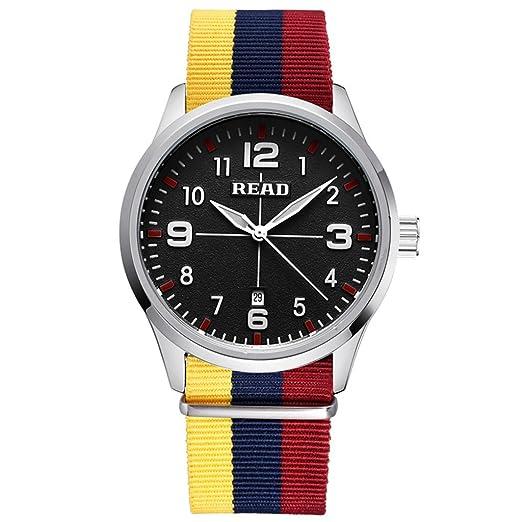 YPS hombres moda casual superior de cuarzo de lujo famosos marca de nylon correa de pulsera WTH5241: Amazon.es: Relojes