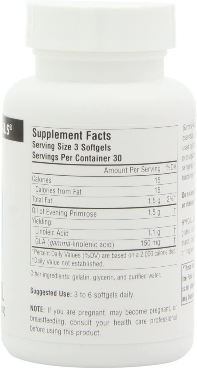 Source Naturals Evening Primrose Oil – Hexane-Free – 500mg – GLA Yield 50 mg – Cold-Pressed – 90 Softgels