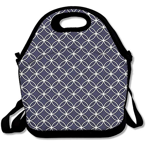 Trellis Inspired Pattern Quatrefoil Circles Moroccan Style Tile Theme Lunch Bag Tote For School Work Outdoor