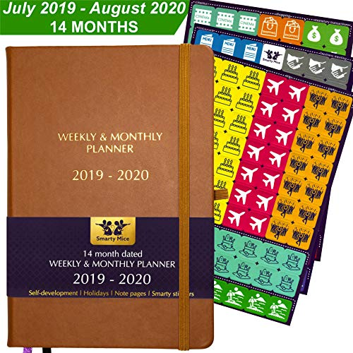 (2019-2020 Dated Planner + Stickers 14 Months July 2019 - August 2020, A5, 100 gsm Paper, Hardcover, Inner Pocket, Pen Holder, Weekly & Monthly Organizer to Achieve Goals & Improve Productivity (brown))