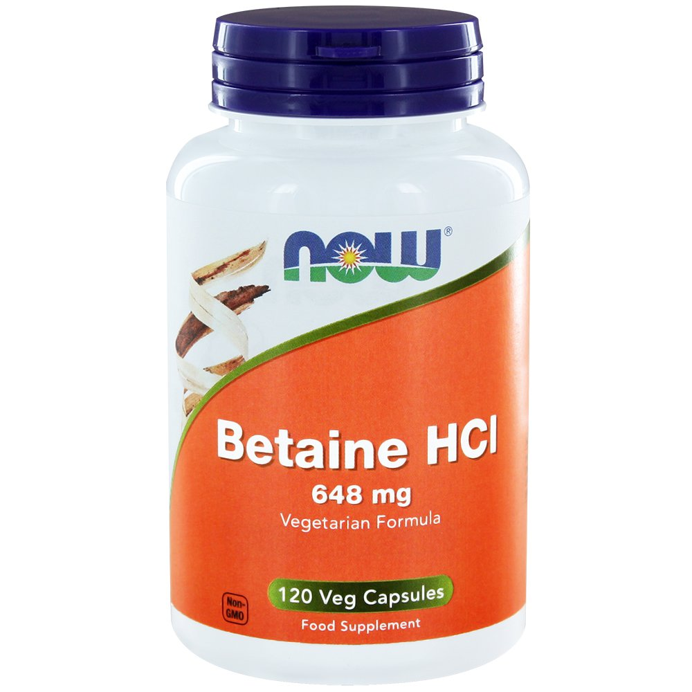 Betaine HCl 648 mg with 150 mg Pepsin 120 Veg Capsules