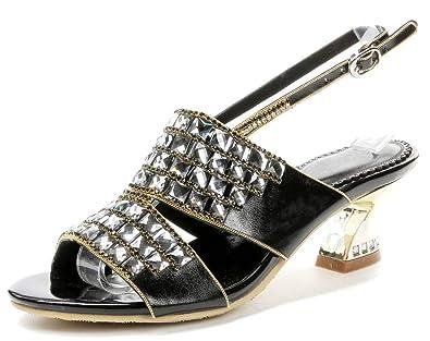 d49da1f3f3e8 LizForm Women Rhinestone Studded Heeled Sandals Ankle Strap Shoes Chunky Kitten  Heels Black 3