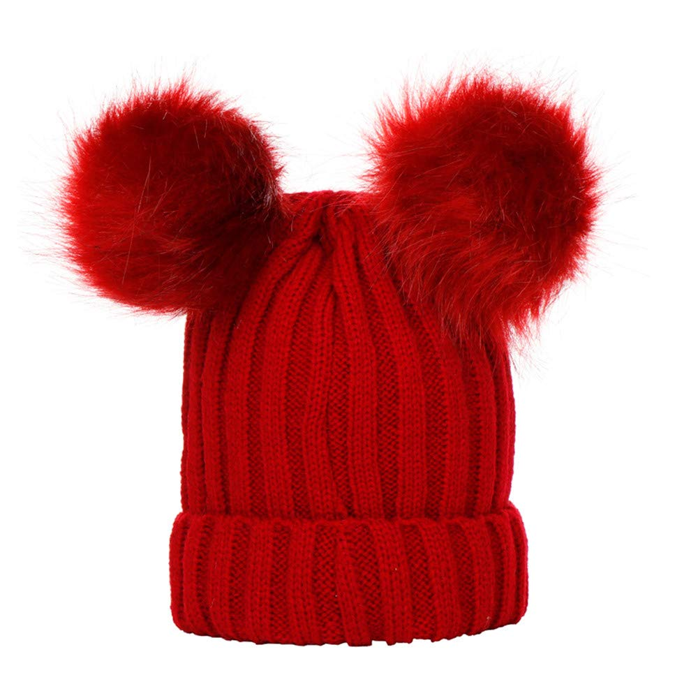 Baby Boys Girls Winter Solid Color Double Hairballs Knit Hat Beanie Warm Cap