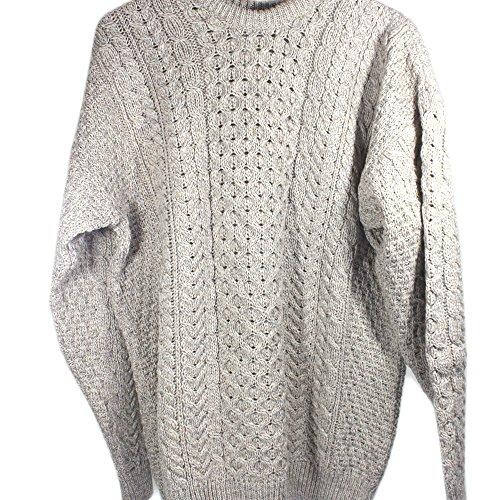 Irish Fisherman Sweater 100% Merino Wool Natural, Medium