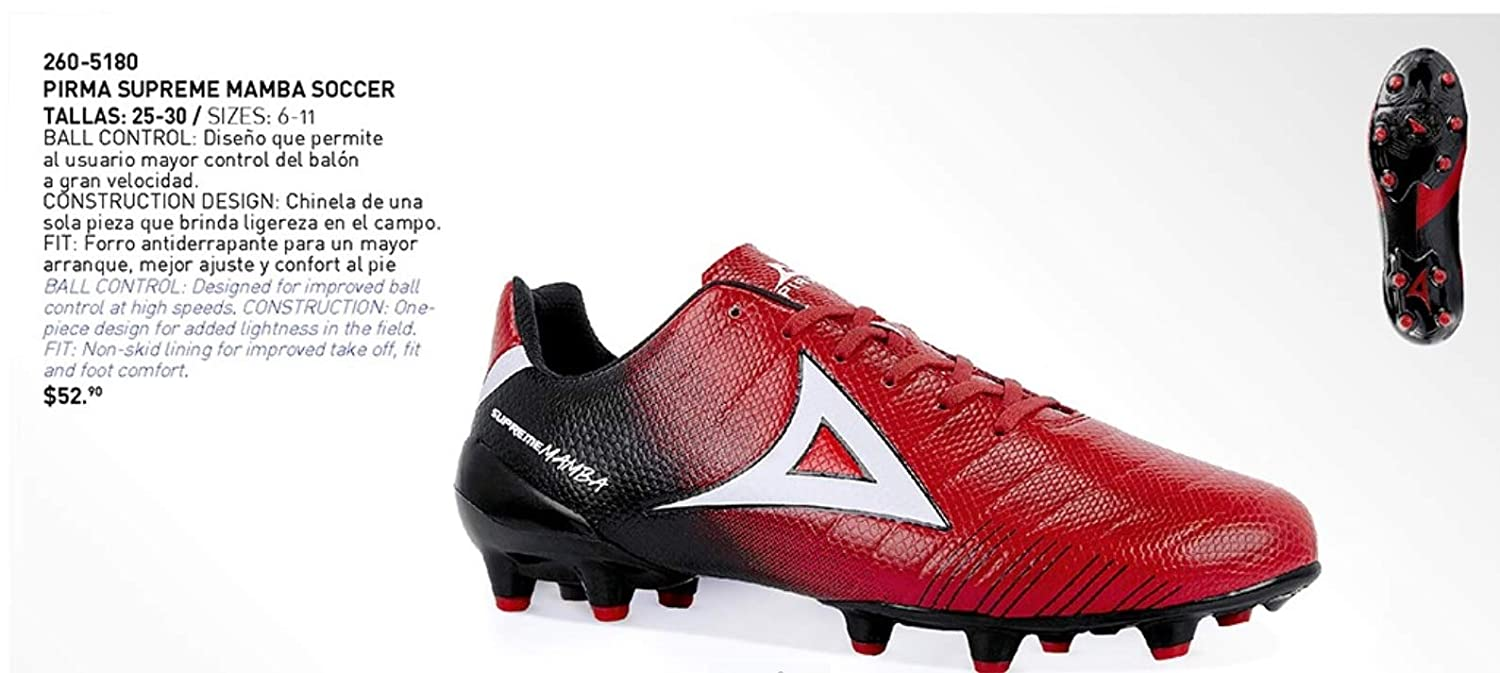 bd68bf3286a Amazon.com  Pirma Supreme Mamba Red Black Soccer Cleats  Sports   Outdoors