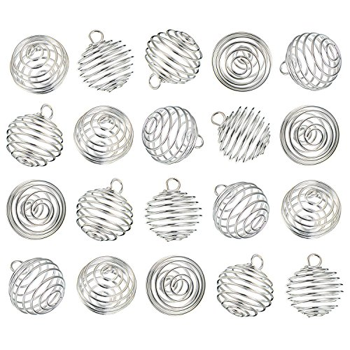 - Pandahall 10pcs Wire Spiral Wrap Bead Cages Bead Holder Frame Pendants Charms Jewelry Making Platinum 15x14mm Hole: 5mm