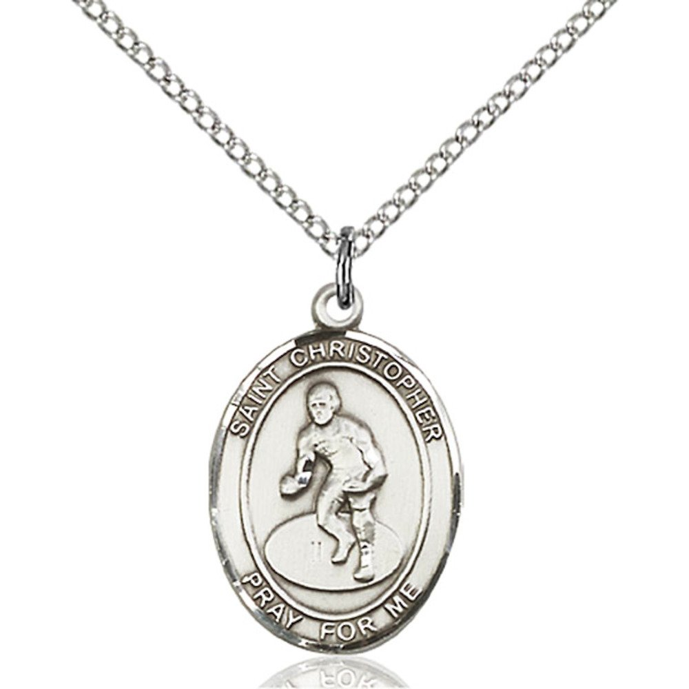 Custom Engraved Sterling Silver St. Christopher/Wrestling Pendant 3/4 x 1/2 inches with Sterling Silver Lite Curb Chain