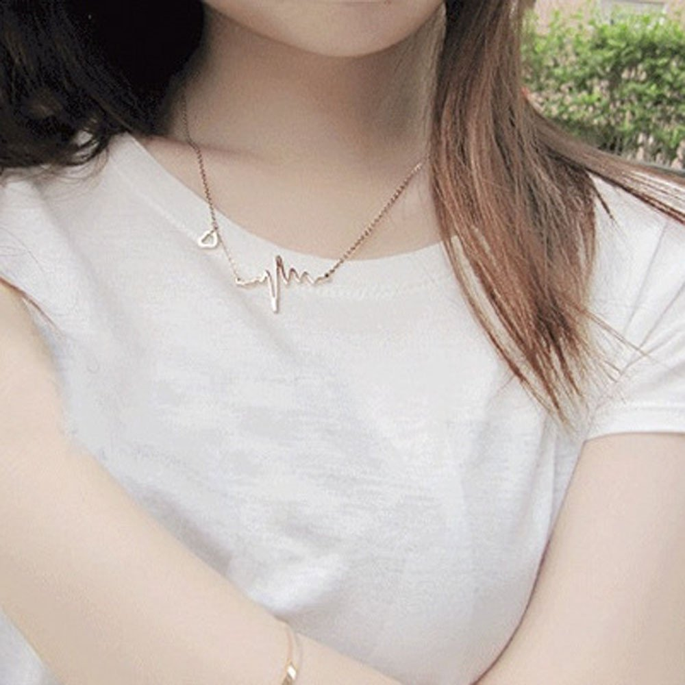 WENSY Women Electrocardiogram Necklace Heartbeat Rhythm with Love Heart Shaped Love necklace Send a girlfriend a gift